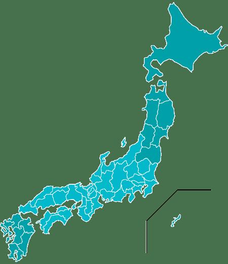 日本全国の受託実績分布図